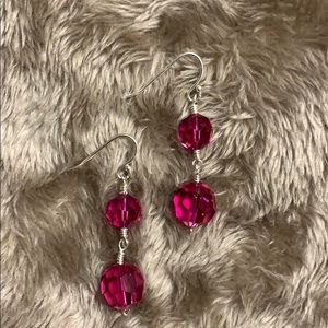 Jewelry - Handmade wire wrapped pink crystal earrings